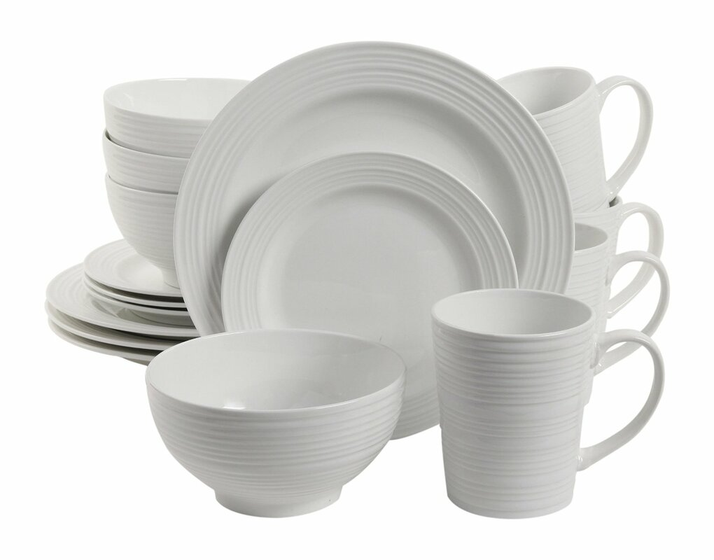 Colleen 16 Piece Dinnerware Set Service for 4  sc 1 st  AllModern : white earthenware dinnerware - pezcame.com