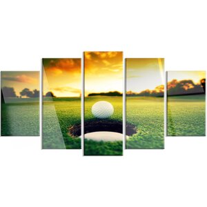 'Golf Ball Near Hole' 5 Piece Photographic Print on Canvas Set by Design Art