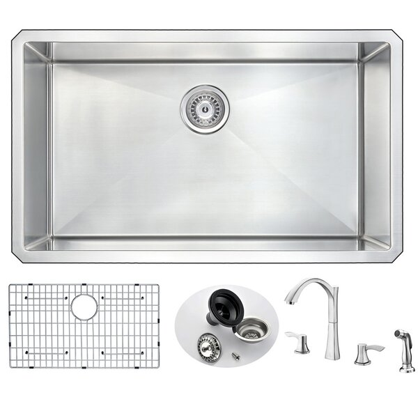 Vanguard 32 L x 19 W Single Bowl Undermount Kitchen Sink and Faucet Set with Drain Assembly by ANZZI