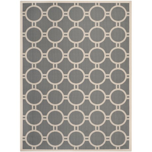 Jefferson Place Anthracite/Beige Indoor/Outdoor Area Rug by Wrought Studio