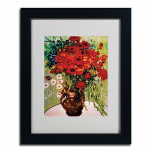 'Daisies and Poppies' by Vincent Van Gogh Painting Print on Framed Canvas by Trademark Fine Art