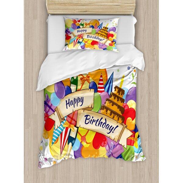 Birthday Decorations Duvet Set by Ambesonne