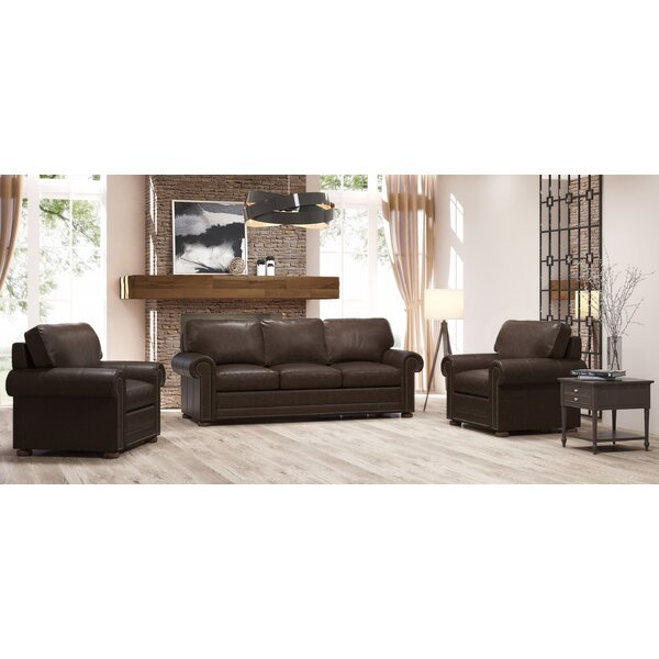 Best Design Odessa 3 Piece Leather Living Room Set By