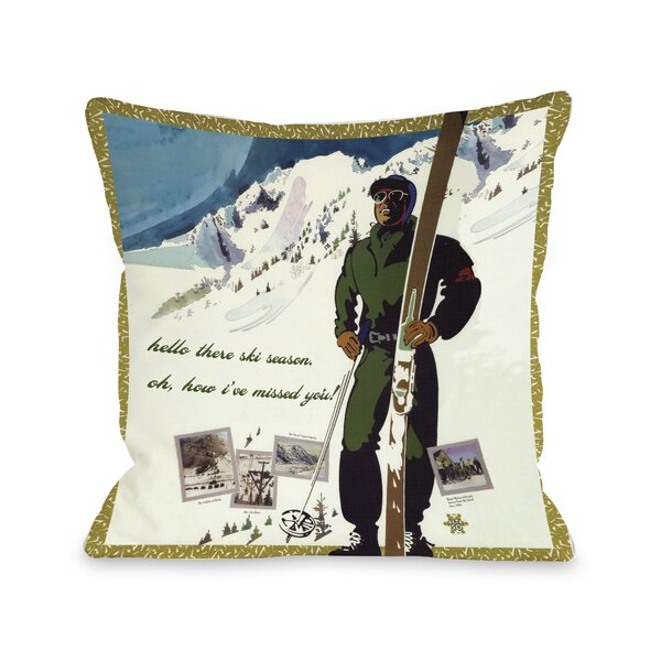 Hello There Ski Season Vintage Ski Throw Pillow by One Bella Casa