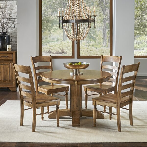 Ian 5 Piece Extendable Solid Wood Dining Set by One Allium Way