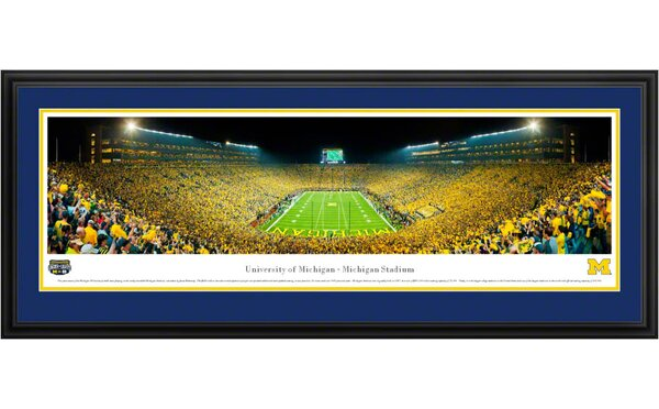 NCAA University of Michigan Deluxe Framed Photographic Print by Blakeway Worldwide Panoramas, Inc