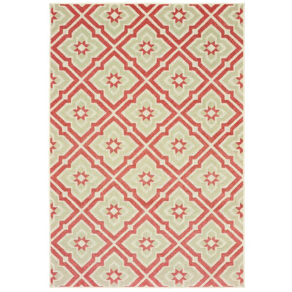 Fluellen Pink/Beige Indoor/Outdoor Area Rug by Bungalow Rose