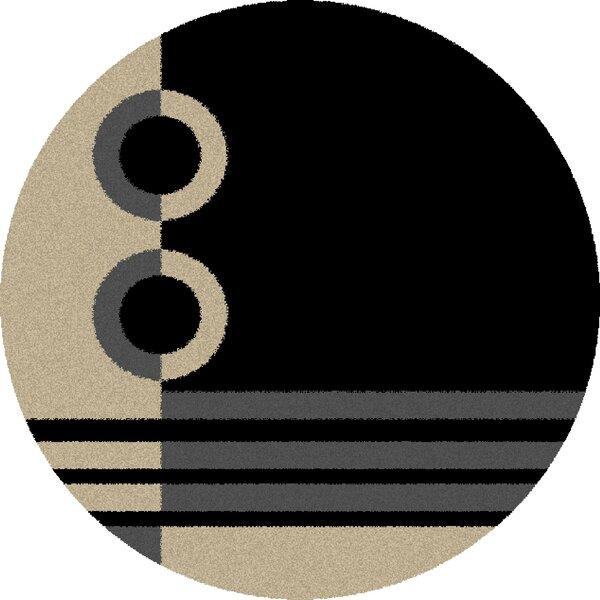 Center Shaggy Rings Black Area Rug by Orren Ellis