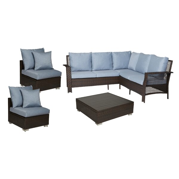 Ellie 4 Piece Rattan Sectional Seating Group with Cushions by Ivy Bronx