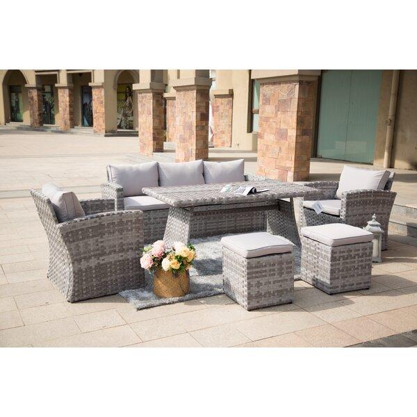 Kora 6 Piece Rattan Sofa Seating Group with Cushions