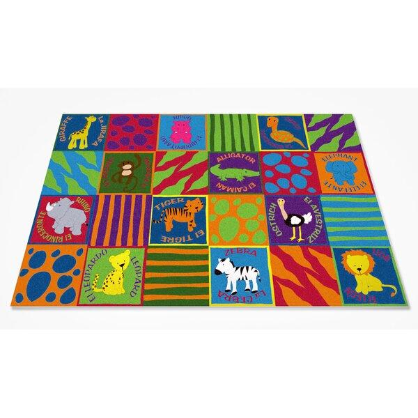 Bilingual Animals School Area Rug by Kid Carpet