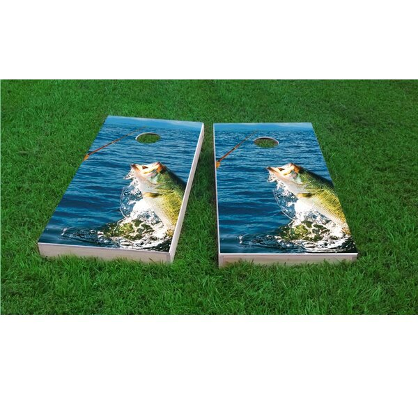 Bass Fishing Cornhole Game Set by Custom Cornhole Boards