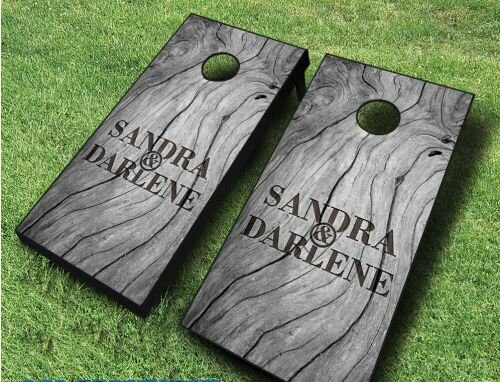Sophisticated Wood Wedding Cornhole Set by AJJ Cornhole
