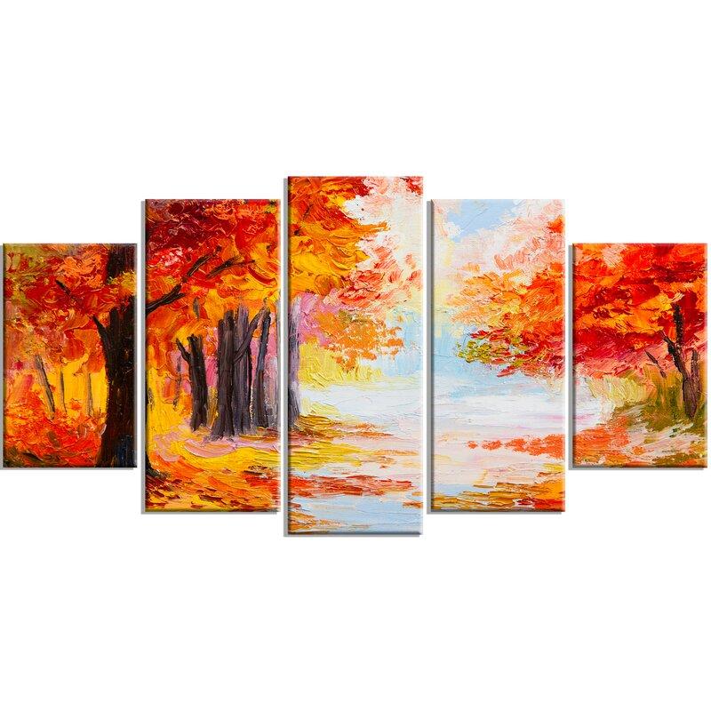 DesignArt \'Orange Forest in Autumn\' 5 Piece Wall Art on Wrapped ...