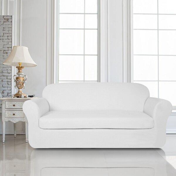 2 Piece Knit Jacquard Box Cushion Loveseat Slipcover Set by Winston Porter