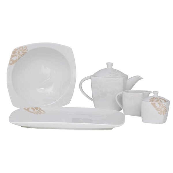 Bloomfield Square Fine China Traditional Serving 5 Piece Dinnerware Set by Shinepukur Ceramics USA, Inc.