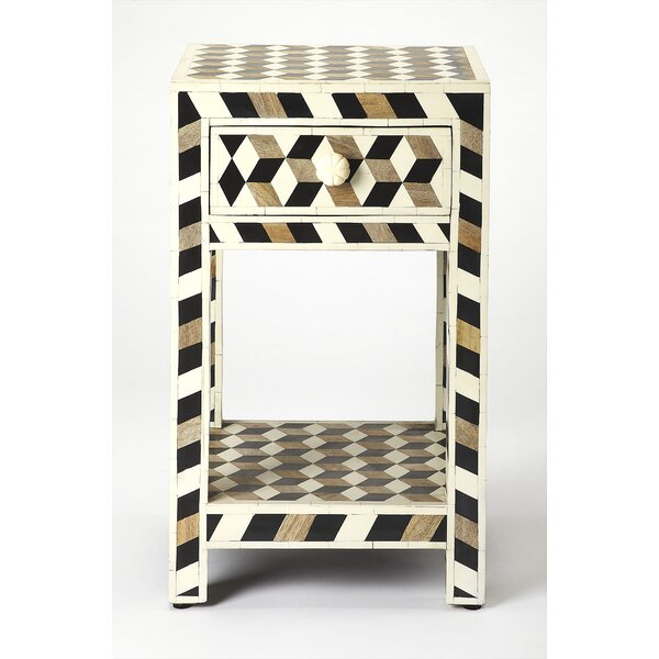 Acosta Wood and Bone Inlay End Table by Brayden Studio