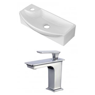 Great choice Ceramic Rectangular Vessel Bathroom Sink with Faucet and Overflow ByAmerican Imaginations