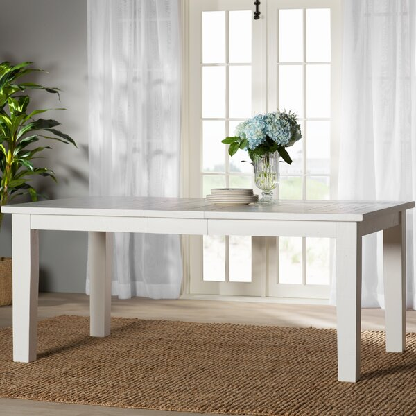 Zeinab Rectangle Extendable Solid Wood Dining Table by Beachcrest Home