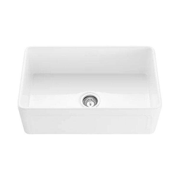 Convertible Fireclay 30 L x 18 W Farmhouse Kitchen Sink with Basket Strainer