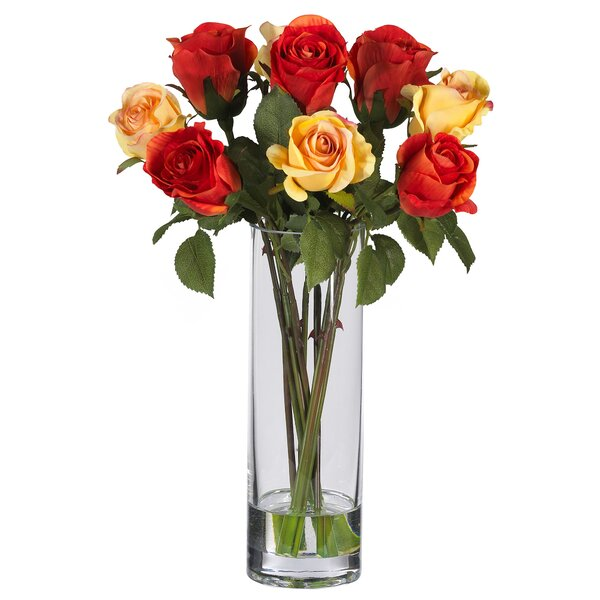 Silk Rose Arrangement with Glass Vase by Nearly Natural
