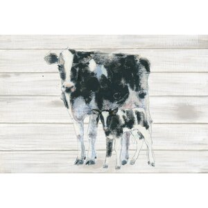 Cow and Calf on Wood Graphic Art on Wrapped Canvas by Laurel Foundry Modern Farmhouse