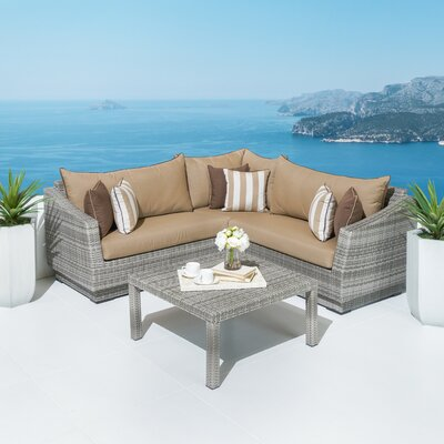 Wade Logan Rattan Subrella Sectional Seating Group Cushions Cushion Color Seating Groups