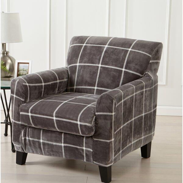 Velvet Plush Box Cushion Armchair Slipcover by Canora Grey