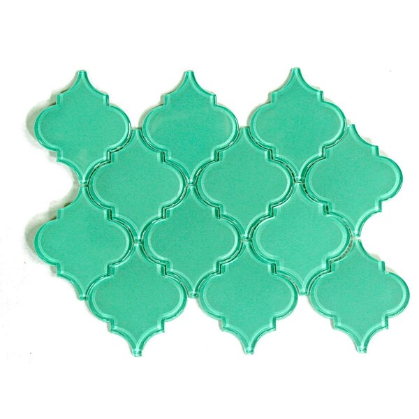 Water Jet Series Arabesque 3.5'' x 4.25'' Glass Mosaic Tile in Light Teal by WS Tiles