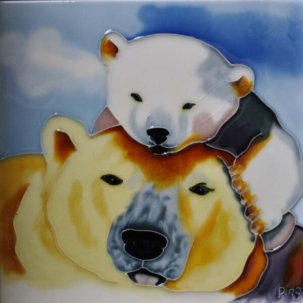 Mom and Baby Polar Bear Tile Wall Decor by Continental Art Center