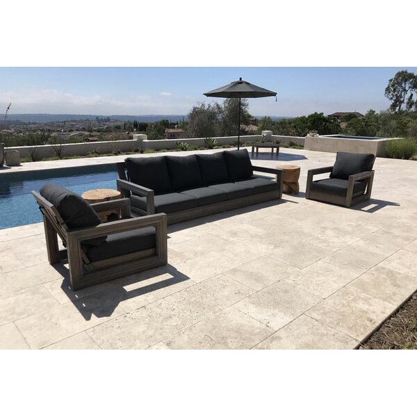 Yandell 3 Piece Teak Sofa Seating Group with Sunbrella Cushions by Brayden Studio