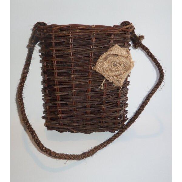 Hanging Wicker Basket with Burlap Flower Decor by Established 98