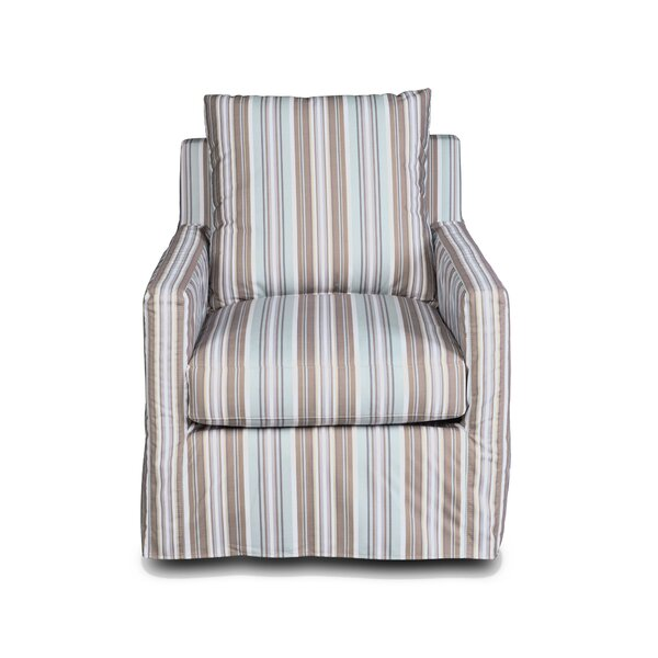 Striped Slipcovered Swivel Armchair By Sunset Trading
