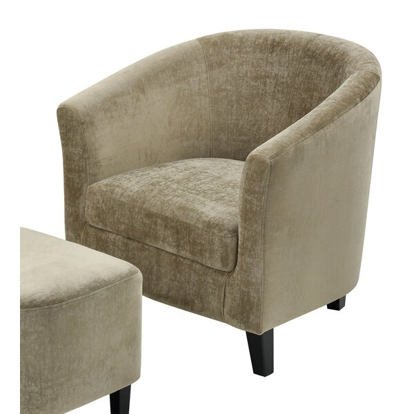 Gilcrease Linen Barrel Chair and Ottoman by Everly Quinn