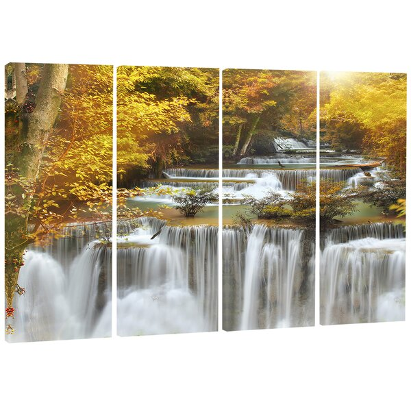 Autumn Huai Mae Khamin Waterfall 4 Piece Photographic Print on Wrapped Canvas Set by Design Art