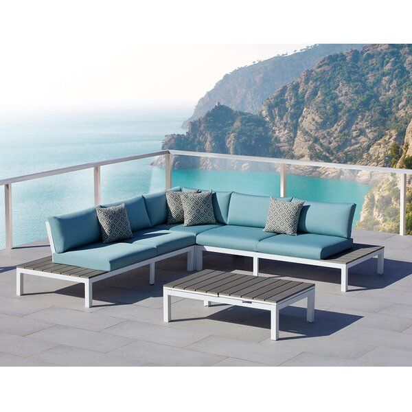 Malibu 4 Piece Sectional Set with Cushions by Ove Decors