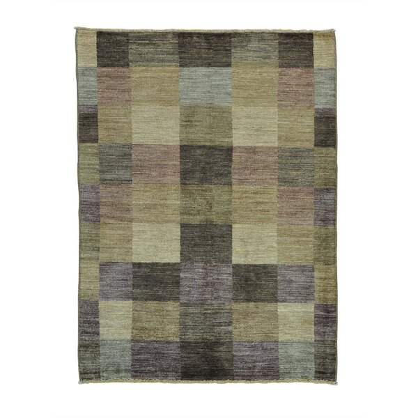 One-of-a-Kind Ferriera Modern Oriental Hand-Knotted Gray/Green Area Rug by Latitude Run