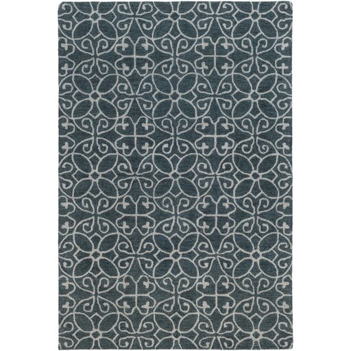 Russellville Hand-Hooked Blue/Gray Area Rug by Charlton Home