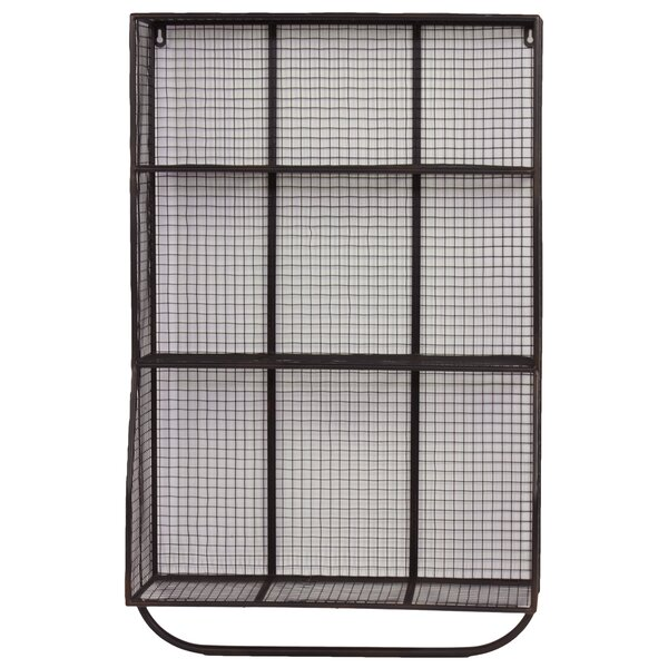 9 Hole Metal Wall Cubby with Hanger Bar by Urban Trends