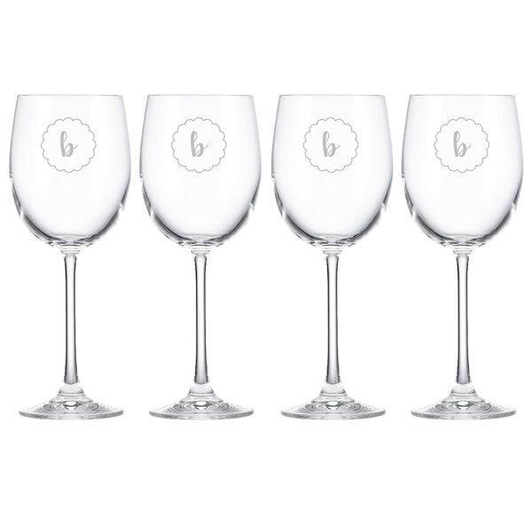 Navy Scallop Tuscany Monogram Chardonnay 12 Oz. White Wine Glass (Set of 4) by Lenox