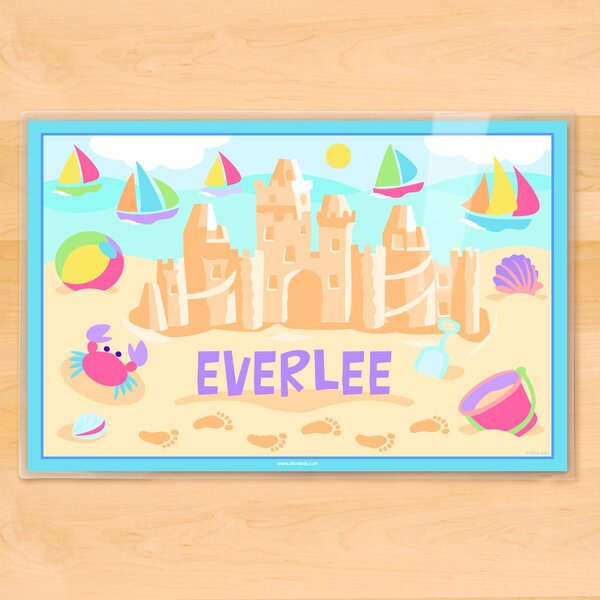 Summer Sandcastle Girls Personalized Placemat by Olive Kids