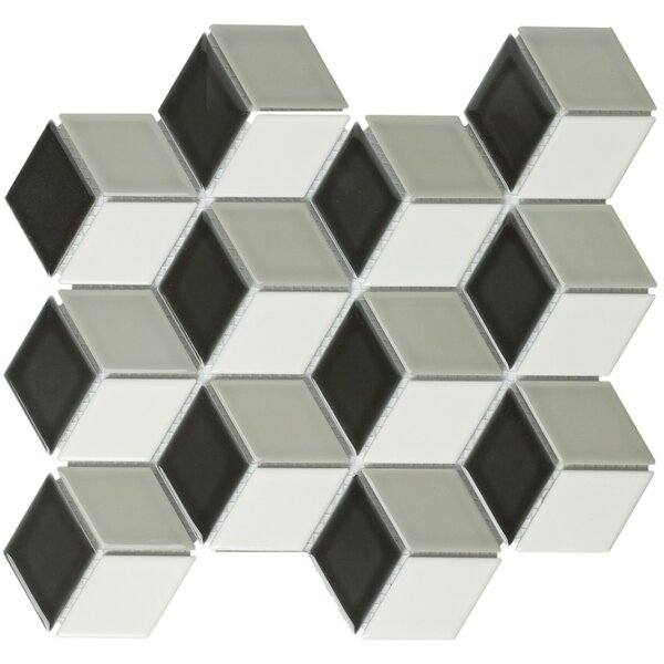Paris Rhombus Glossy 1.9 x 3.19 Porcelain Mosaic Tile in Mix Black White And Gray by The Mosaic Factory