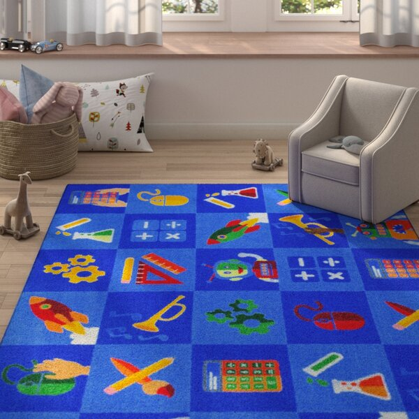 Amandsberg Steam into Learning Blue Area Rug by Zoomie Kids