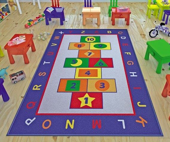 Finnley Game Blue/Red Area Rug by Zoomie Kids
