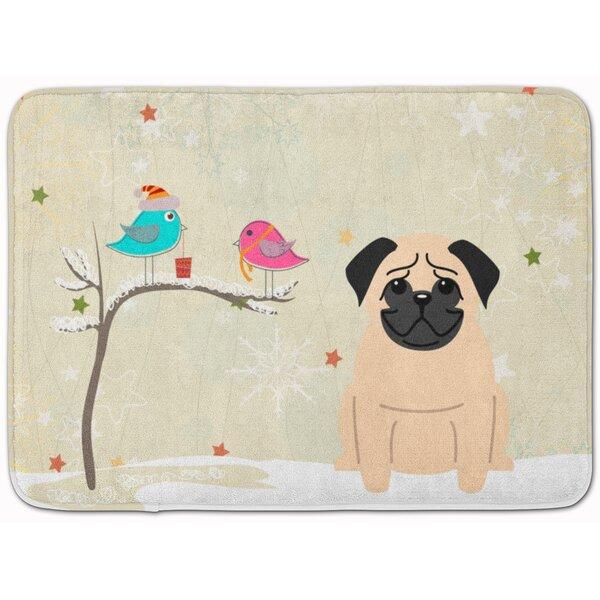 Christmas Presents Friends Pug Fawn Memory Foam Bath Rug by The Holiday Aisle