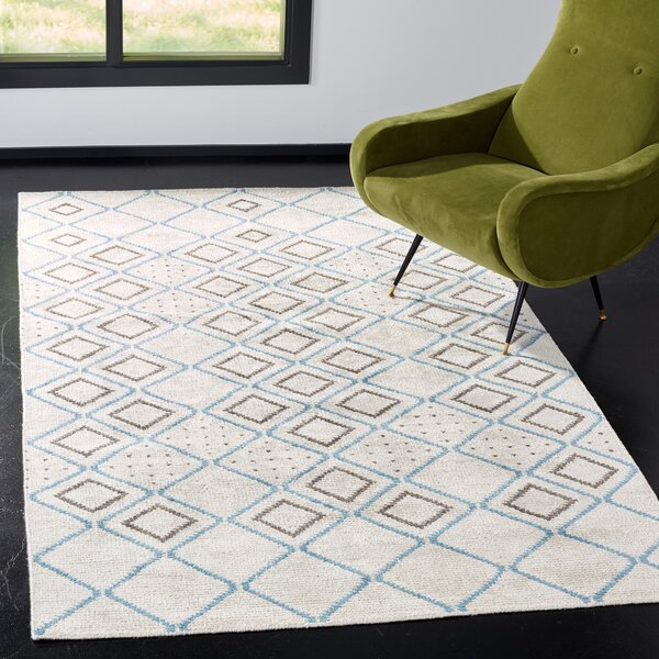 Oakely Hand-Knotted Gray Area Rug by Brayden Studio