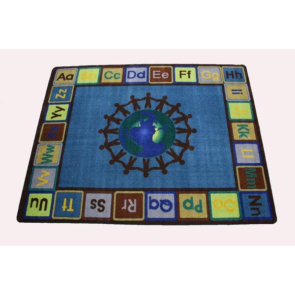 Earth Tone Alpha World Blue/Green Area Rug by Kids World Carpets