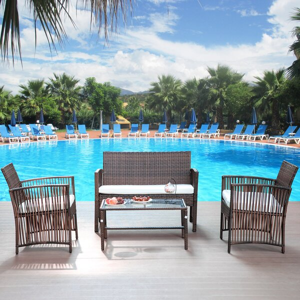 Newhall 4 Piece Rattan Complete Patio Set with Cushions by Bayou Breeze