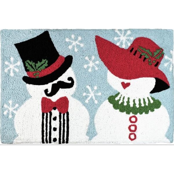Etheridge Mr and Mrs Snowman Hand-Tufted White/Red/Black Indoor/Outdoor Area Rug by The Holiday Aisle