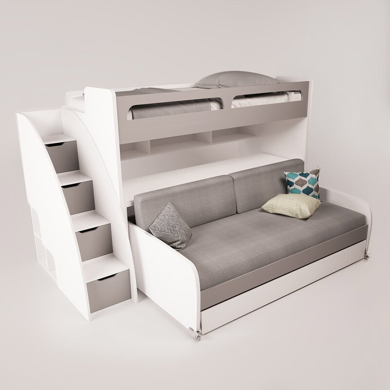 Gautreau Twin Futon Bunk Bed With Table And Trundle